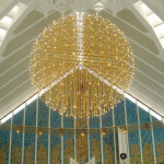 153 Chandelier at Shah Faisal mosque in Islamabad, Pakistan