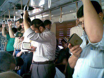 MashaAllah! Isn't it a nice view? They really use their time wisely… reading Al-Quran whenever / wherever they find time.